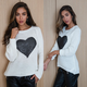 Knit Sweater with Sequin Heart