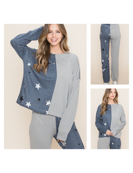 Star Detail Color Block Sweatpants