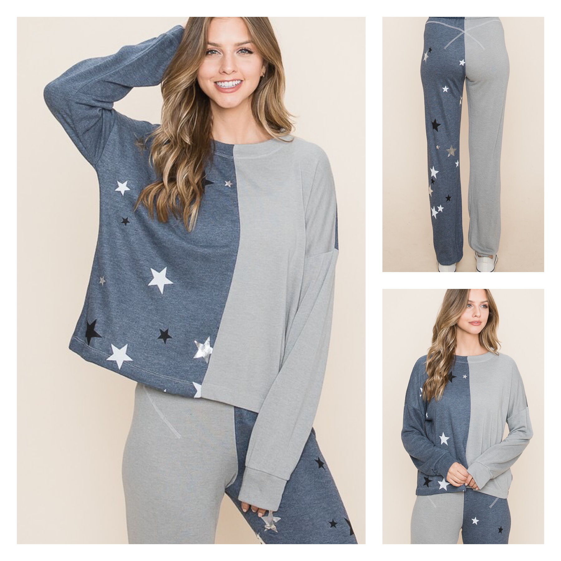 Color Block Sweatshirt with Star Detail