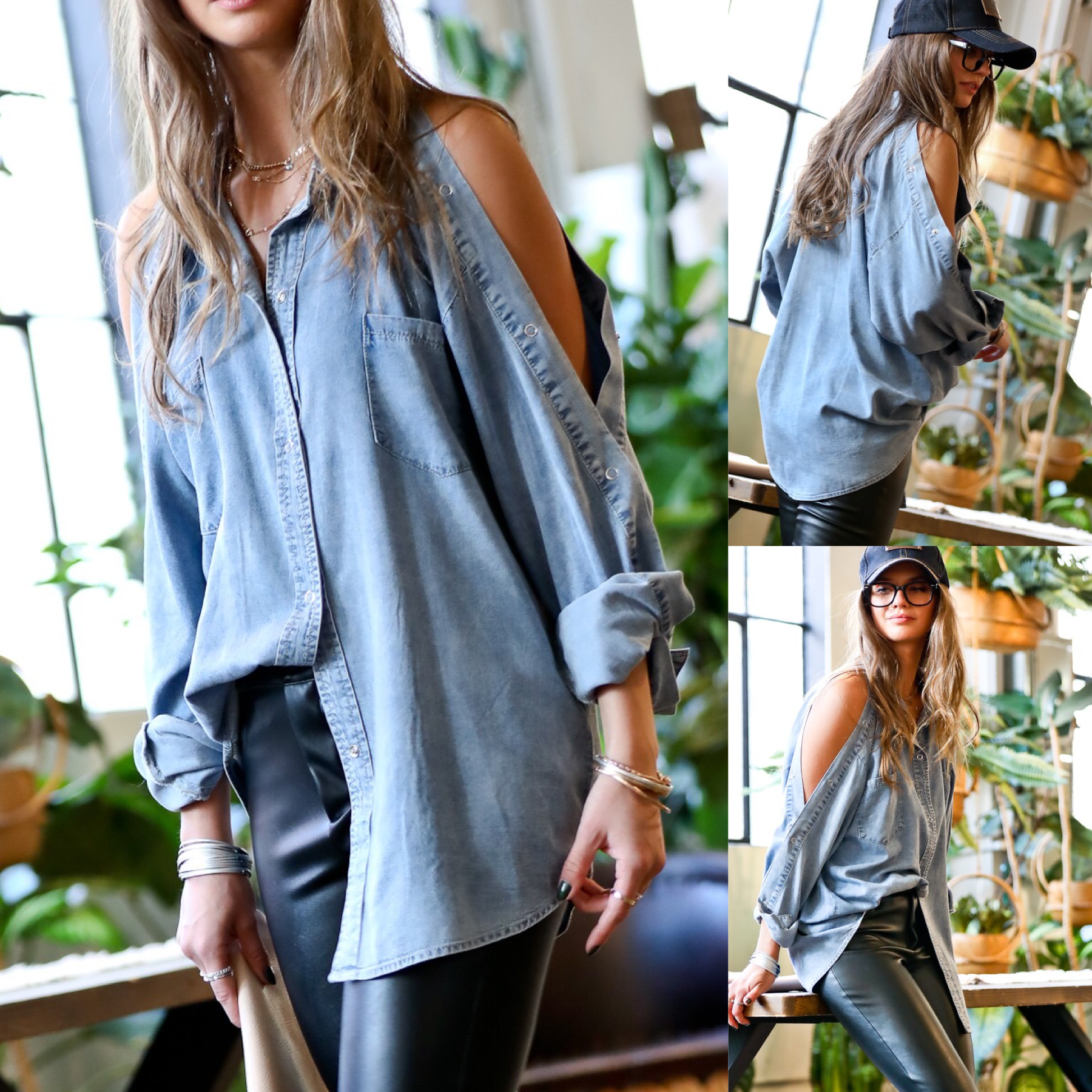 Cold Shoulder Denim Tunic Top