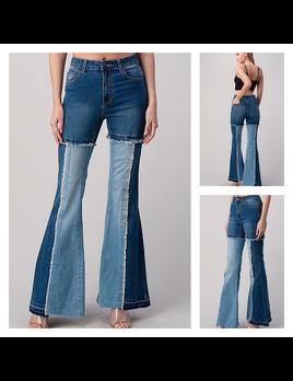 Flare Color Block Frayed Hem Jeans