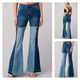 Flare Color Block Frayed Hem Jeans