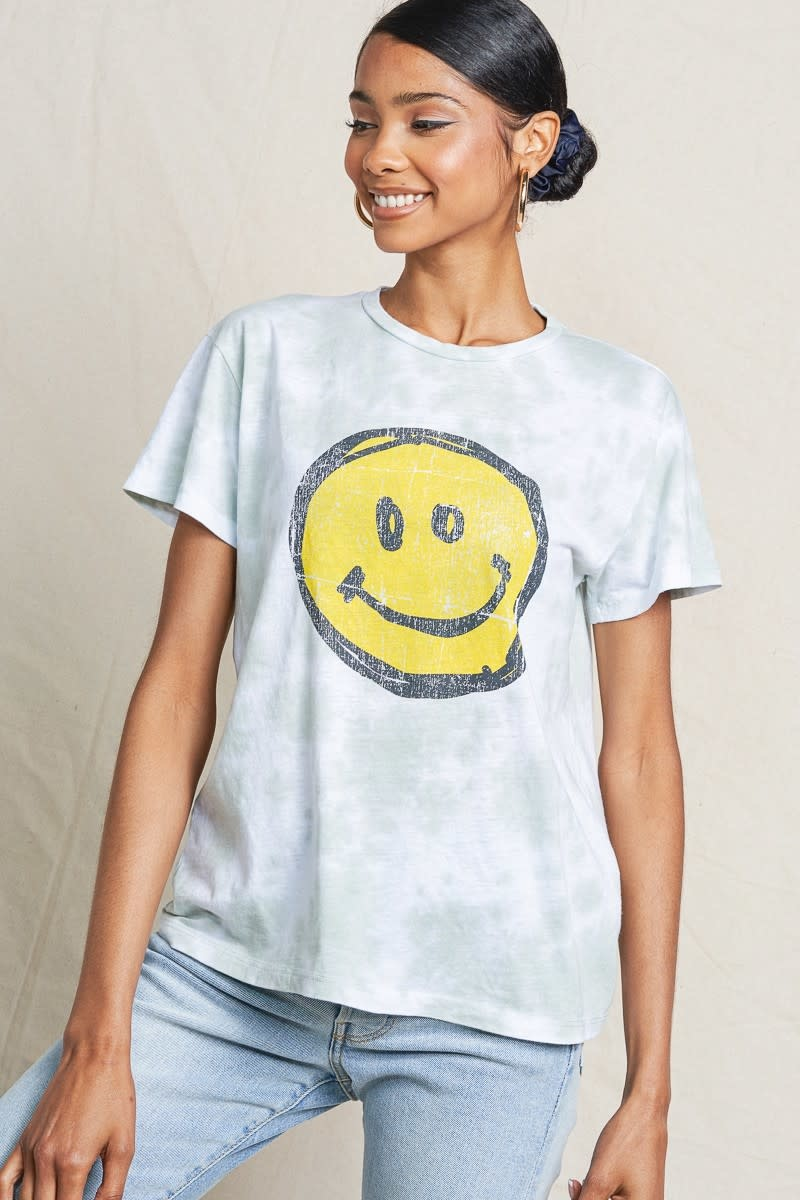 Smiley Graphic Tie Dye Tee