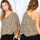 One Cold Shoulder Leopard Print Top