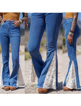 Lace Detail Bell Bottom Jeans