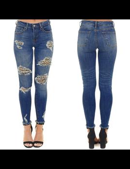 Leopard Distressed Jeans