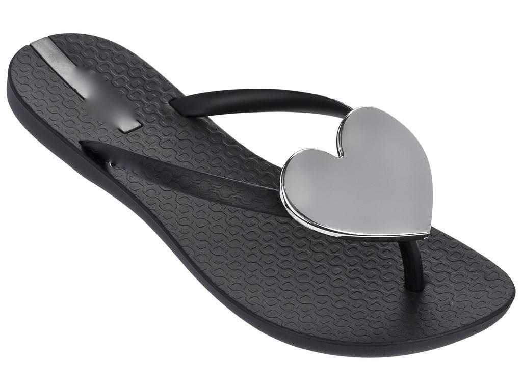 Metallic Heart Flip Flops