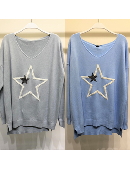 Double Star V Neck Sweater Top