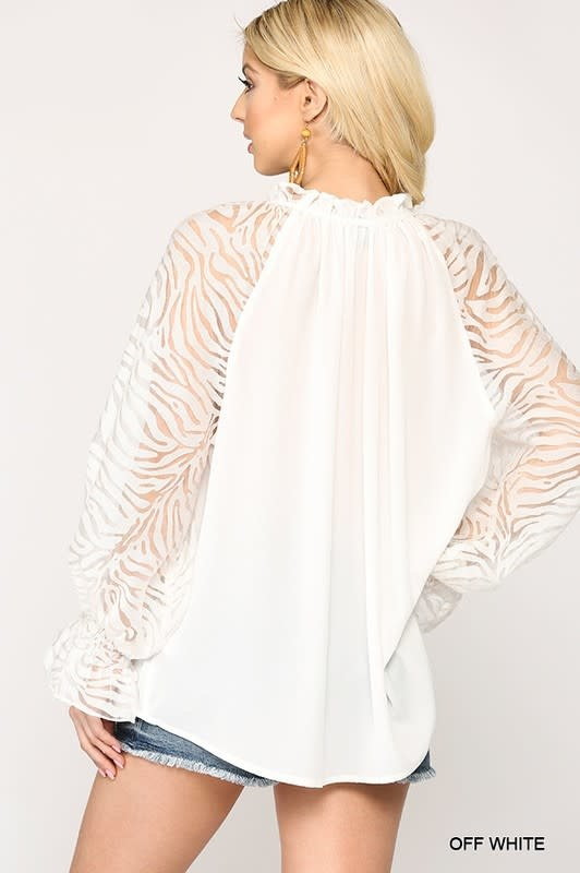 Zebra Burnout Sleeve Ruffle Hem Top
