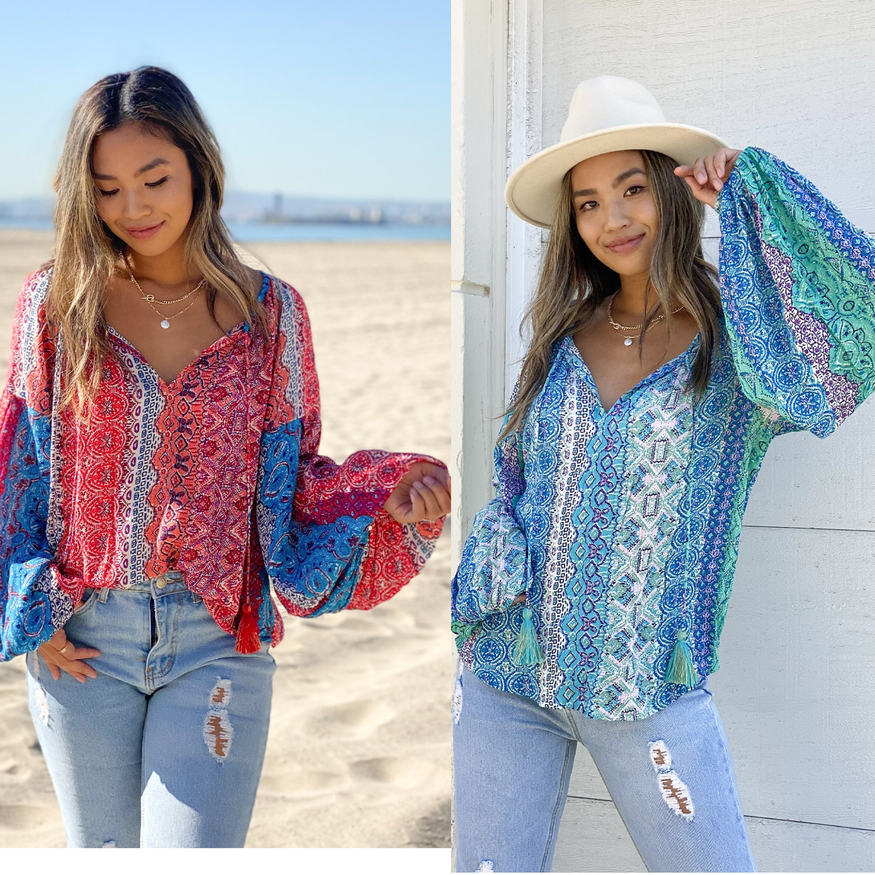 Puff Sleeve Bohemian Top
