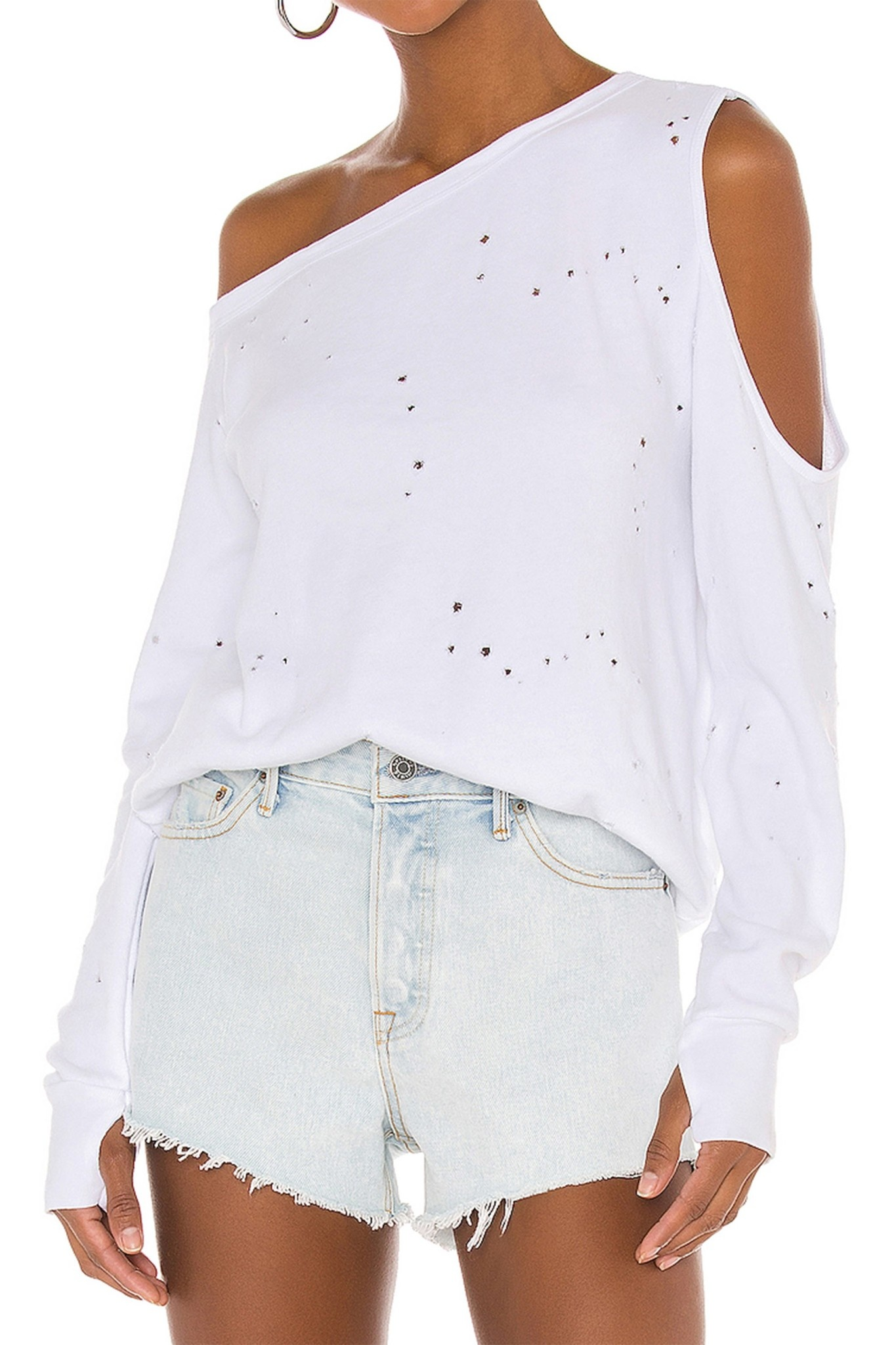Distressed One Off Shoulder Thumbhole Top