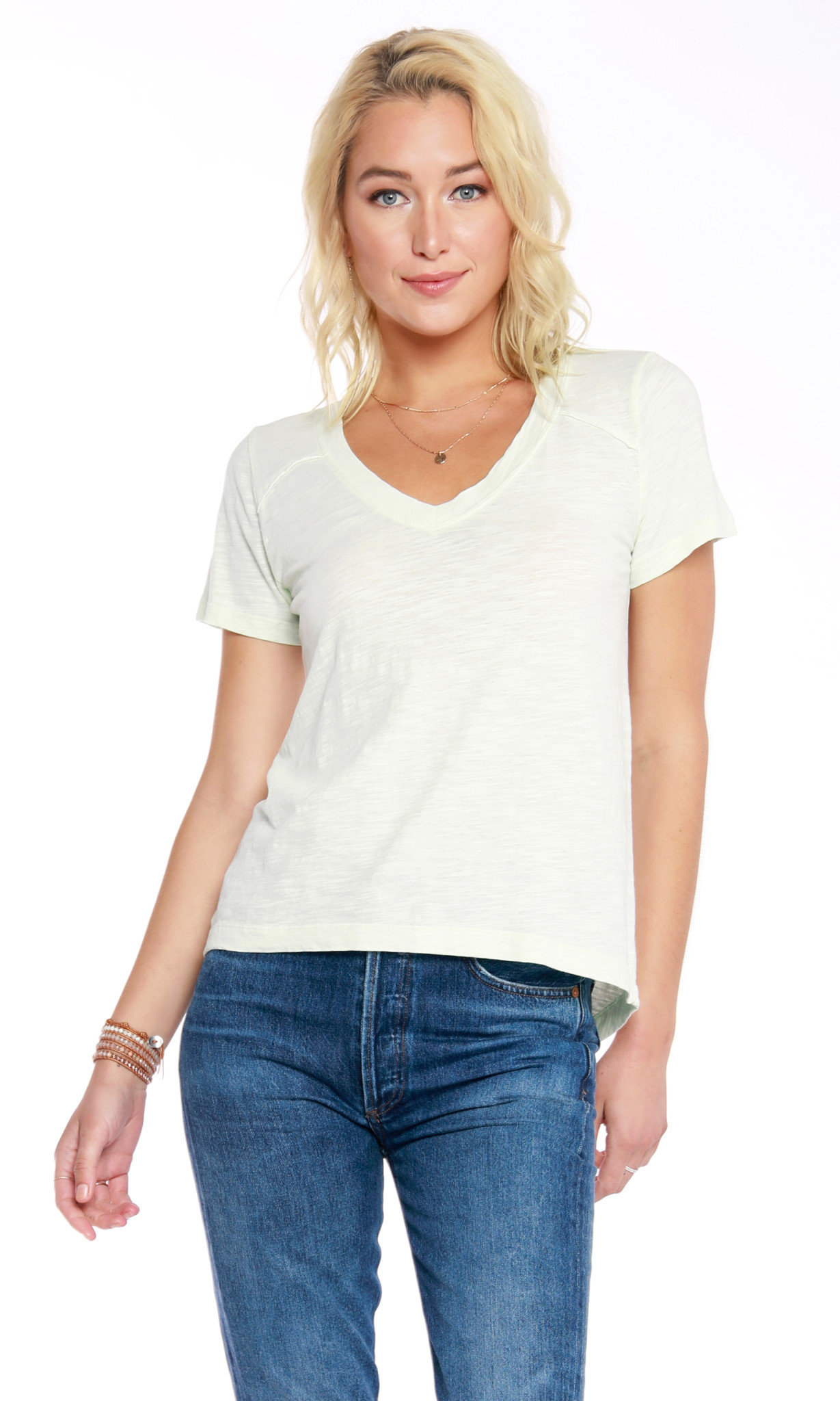 Cotton Short Sleeve V Neck Tee Shirt