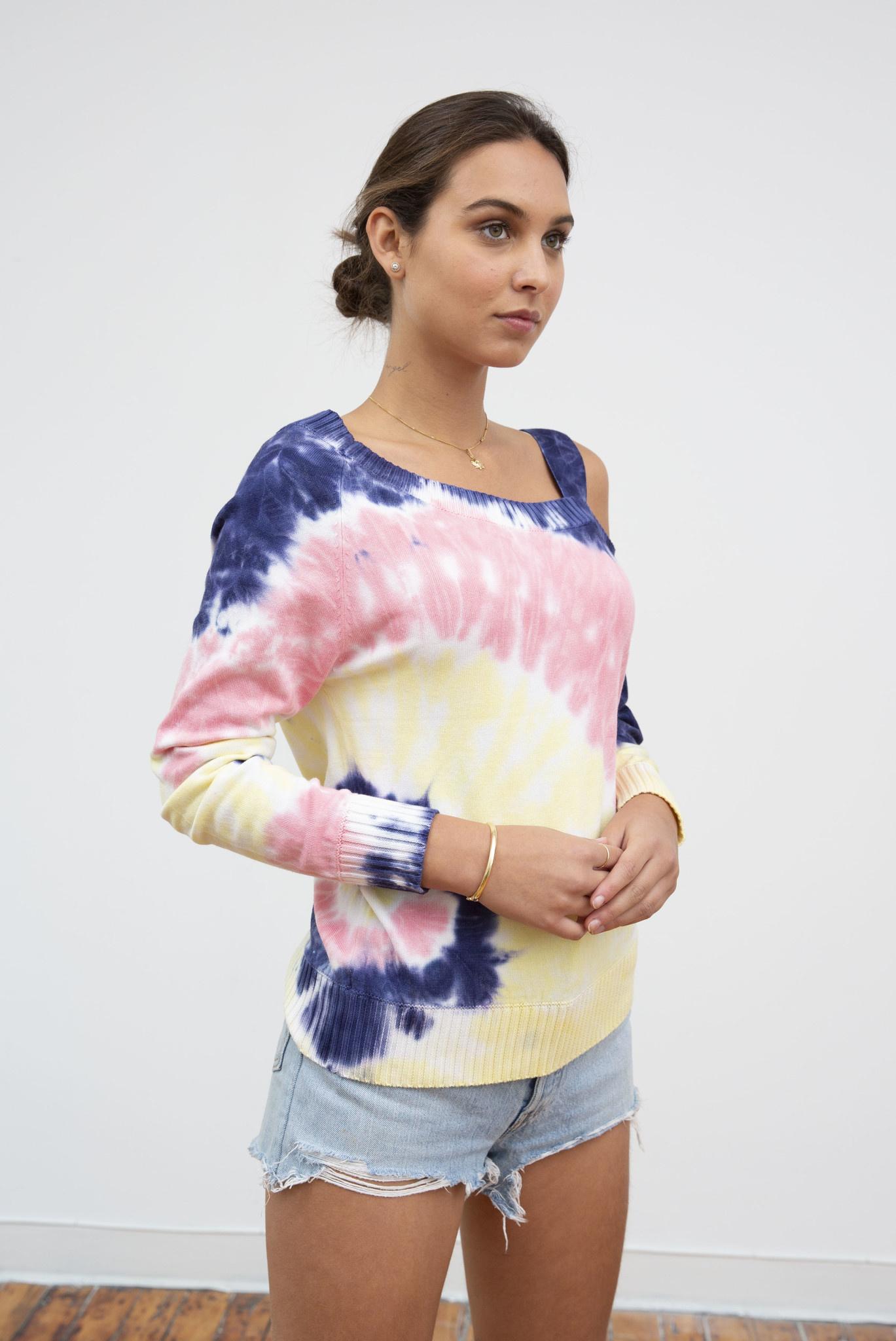 Spiral Tie Dye One Shoulder Sweater