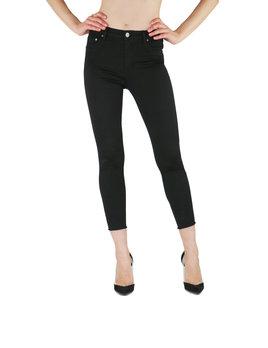 High Waist Skinny Frayed Hem Crop Jean