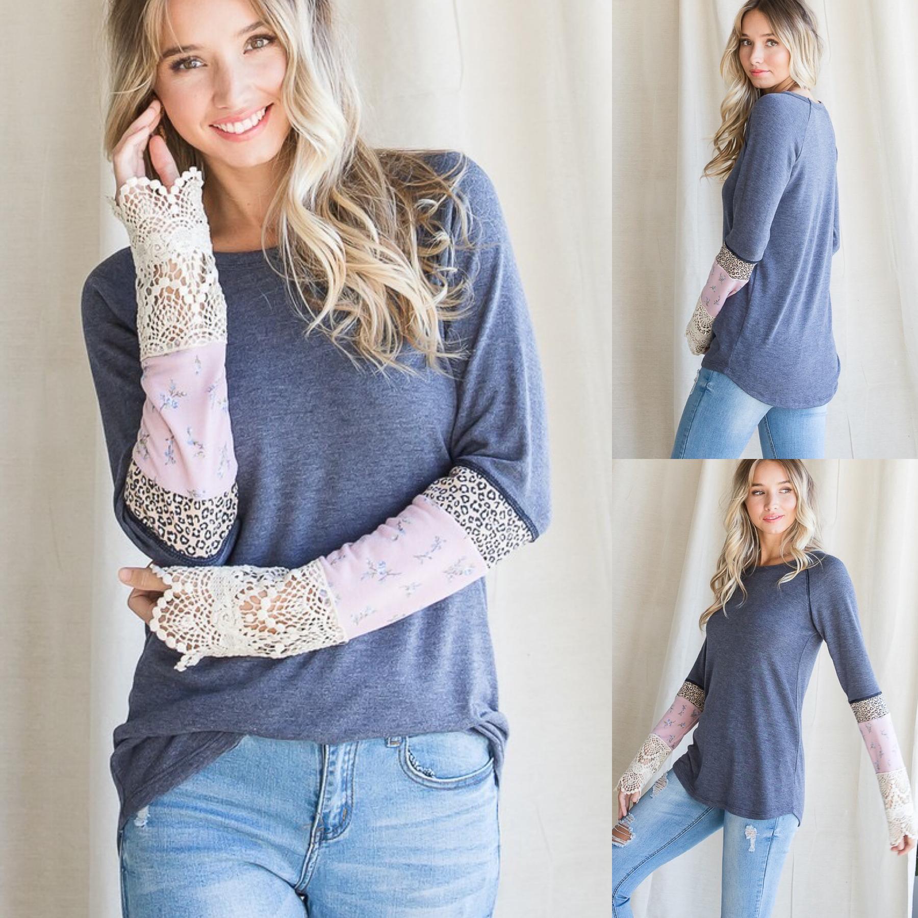 Mixed Fabric Sleeve Top