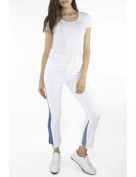 Denim Inset White Jeans