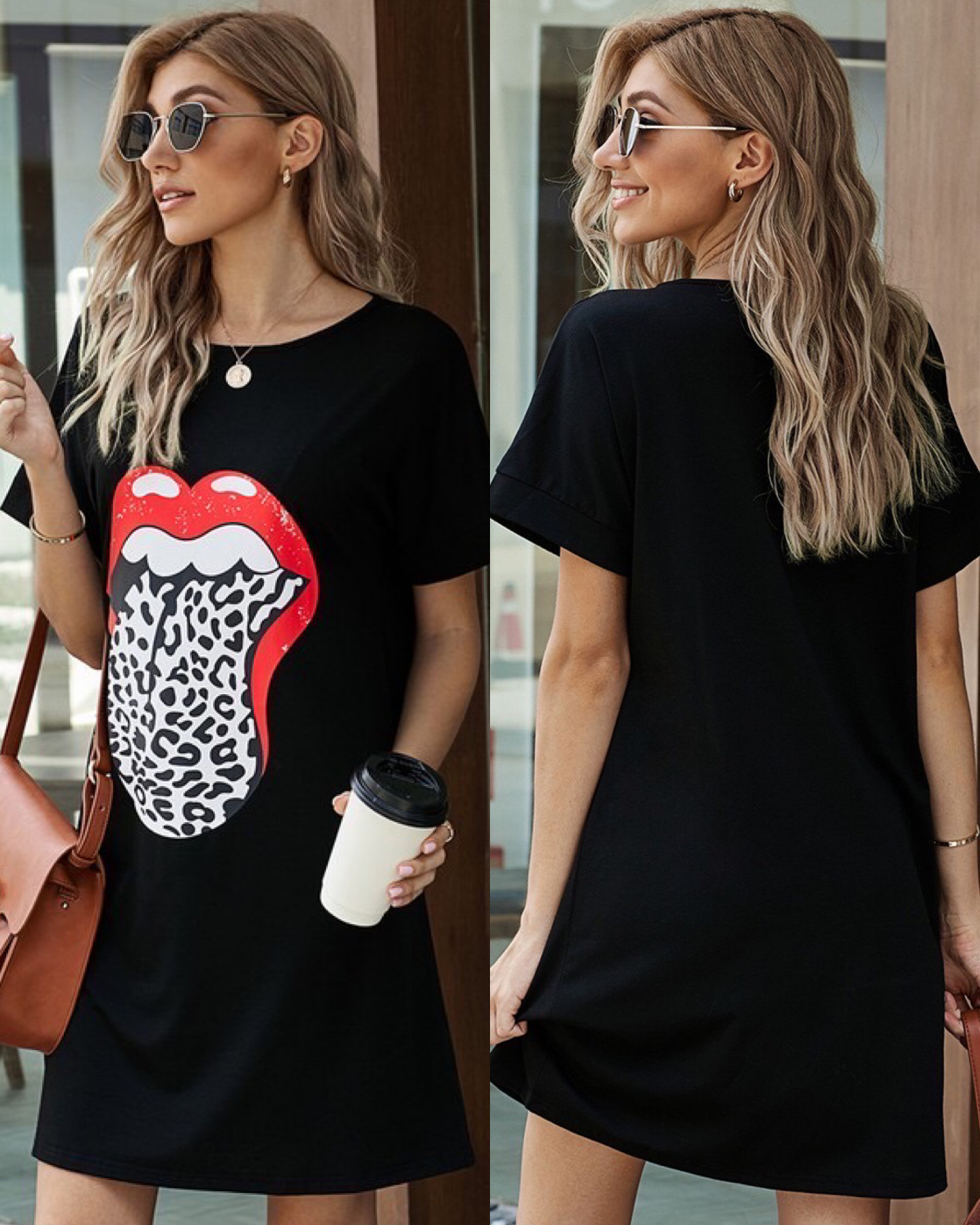 Leopard Detail Lip Dress