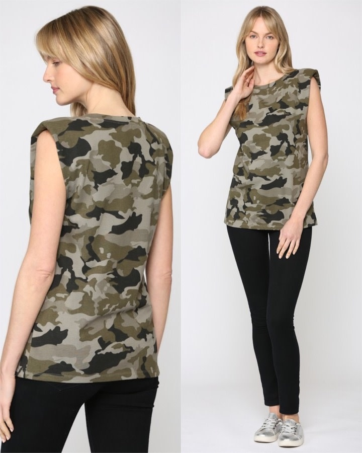 Camouflage Tee W/ Shoulder Pads