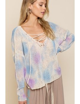 Lightweight Lace Up Tie Dye Sweater