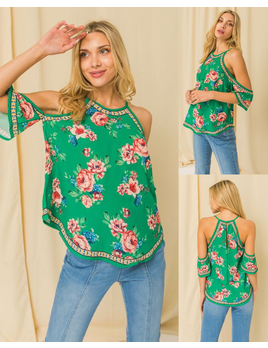 Halter Neck Cold Shoulder Print Top