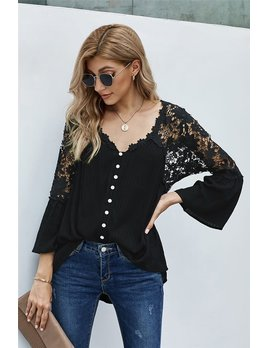 Crochet Sleeve & Back Button Top