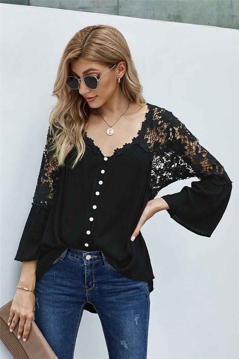 Crochet Sleeve & Back Button Top