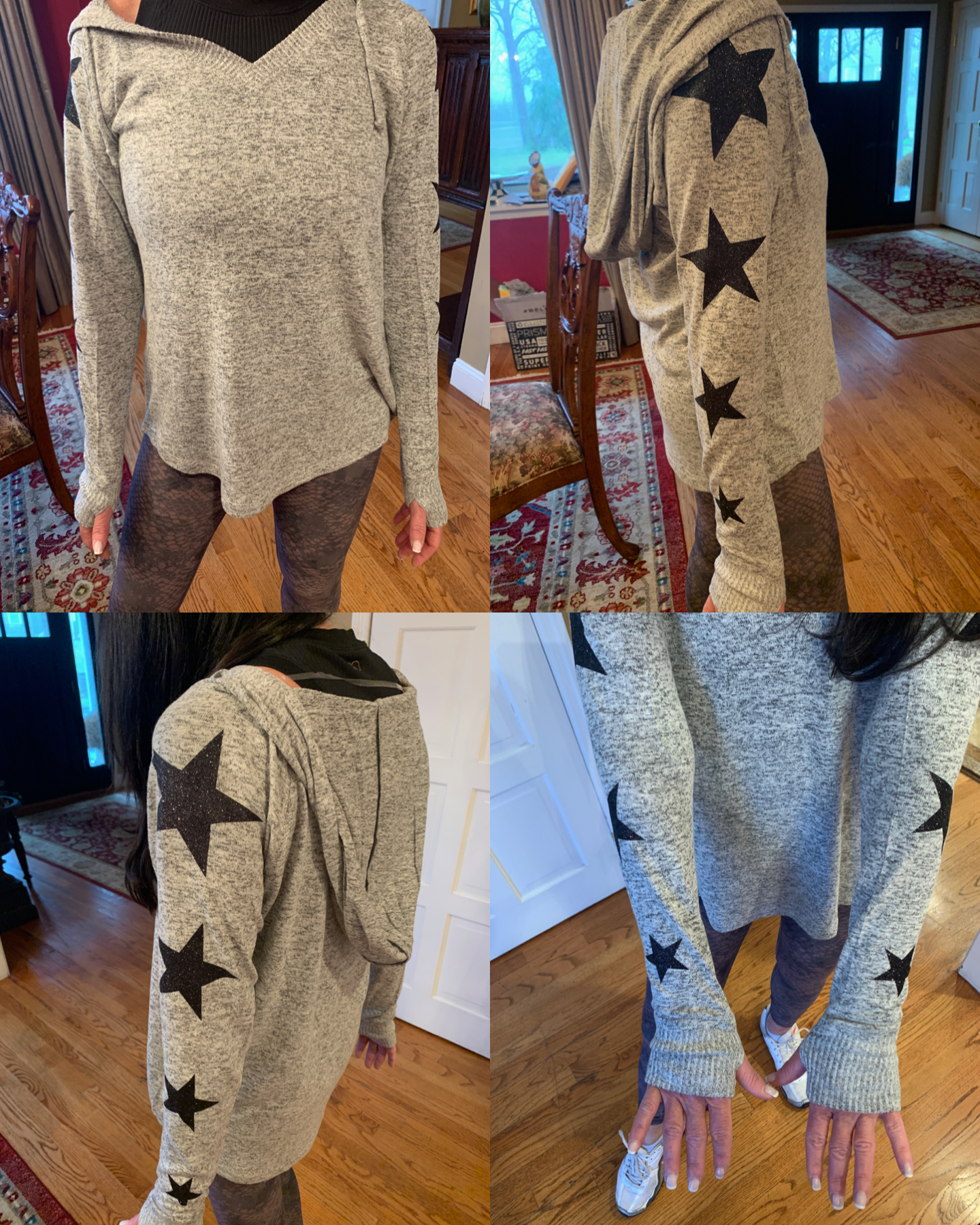 Butter Soft Hoodie with Sparkley Stars on Sleeves