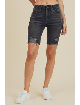 Distressed Denim Biker Shorts High Rise