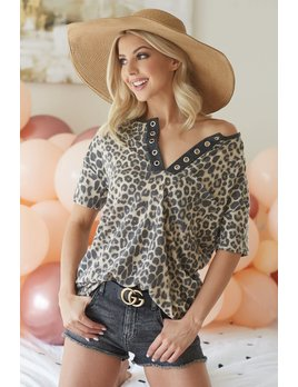 Leopard Top with Grommet Detail
