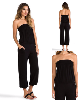 Strapless Smocked Top Jumpsuit