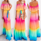 Ombre Off Shoulder Maxi Dress