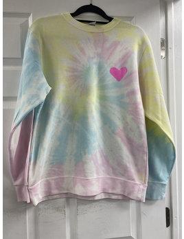 Tie Dye Sweatshirt with Pink Heart