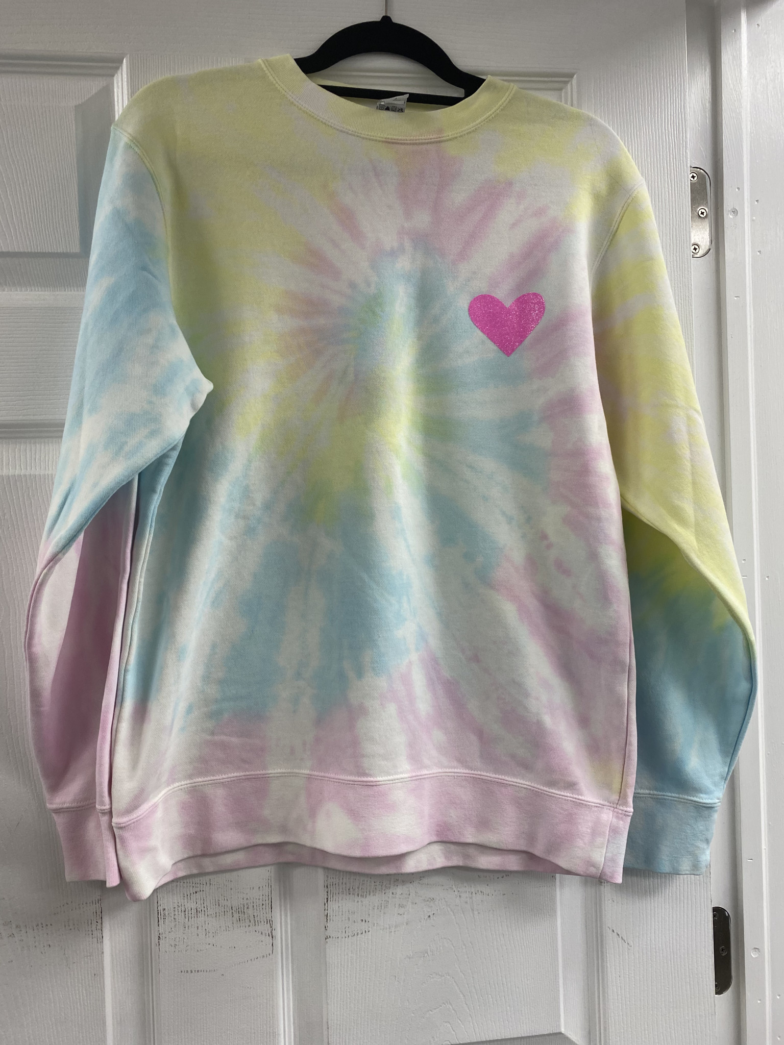 Tie Dye Sweatshirt with Pink Heart