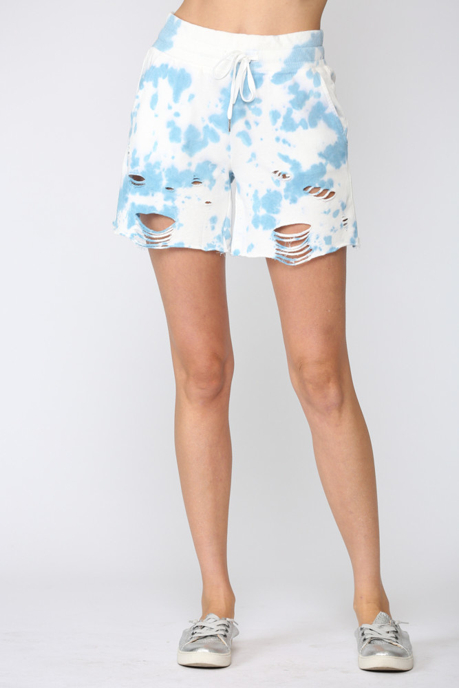 Distressed Tie Dye Shorts