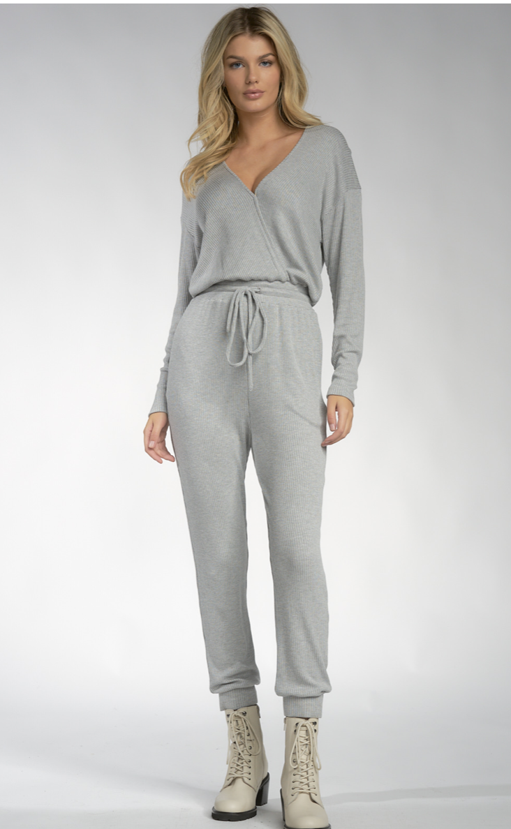 V Neck Jumpsuit with Cuff