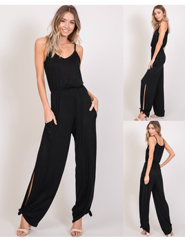 Split Hem Side Tie Jumpsuit