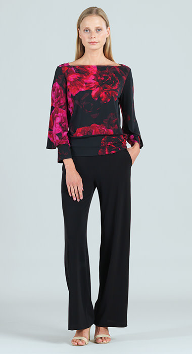 Floral Print Double Cuff Blouse