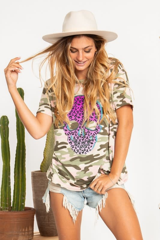 Camouflage Tee with Pink Ombre Skill