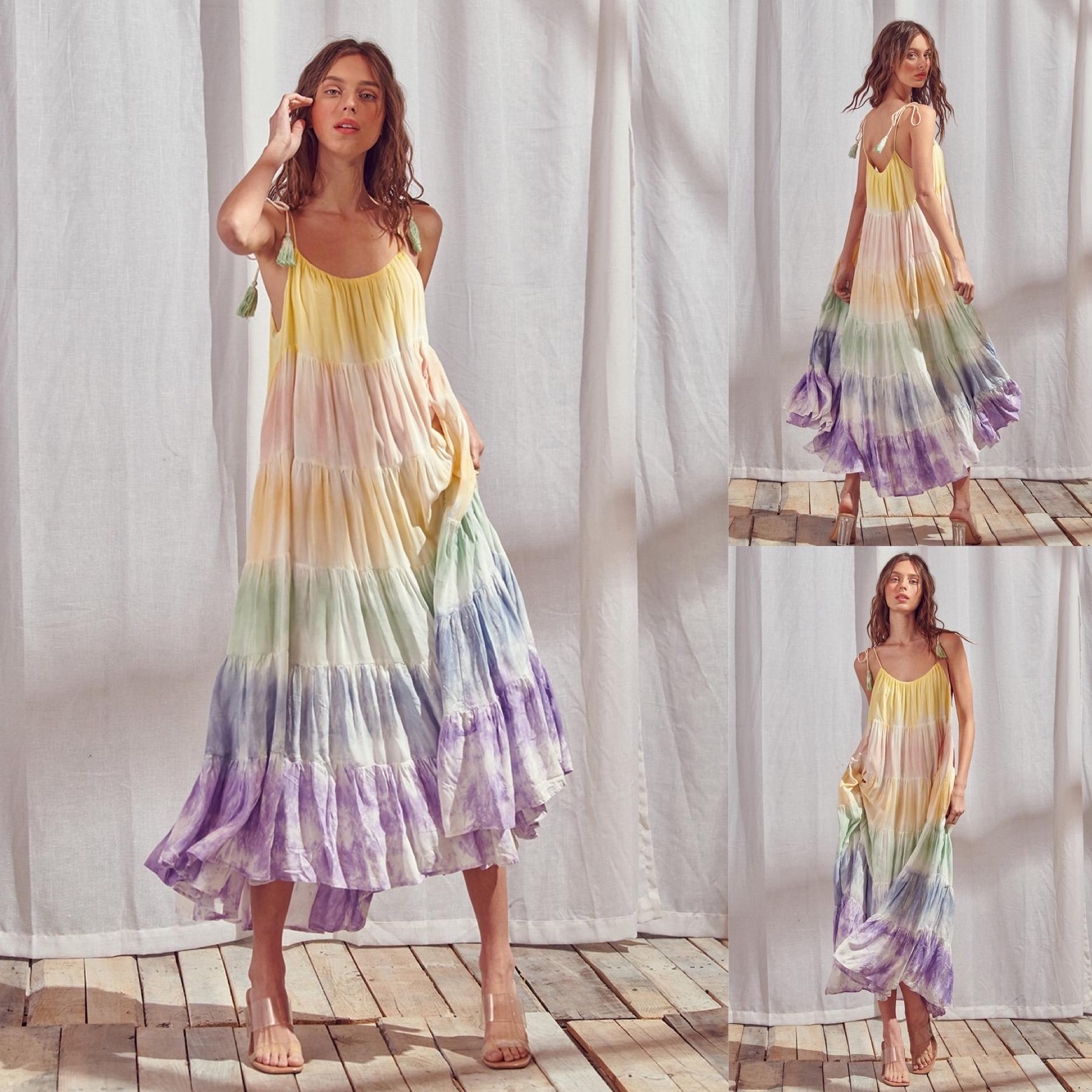 Tie Dye Color Block Maxi Dress