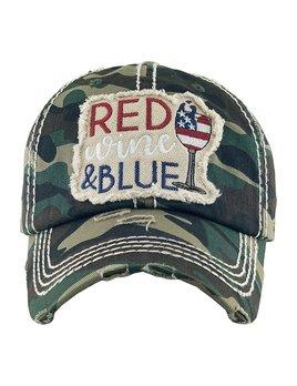 Camo Red Wine & Blue Vintage Cap