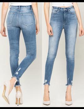 High Rise Frayed Hem Skinny Jeans
