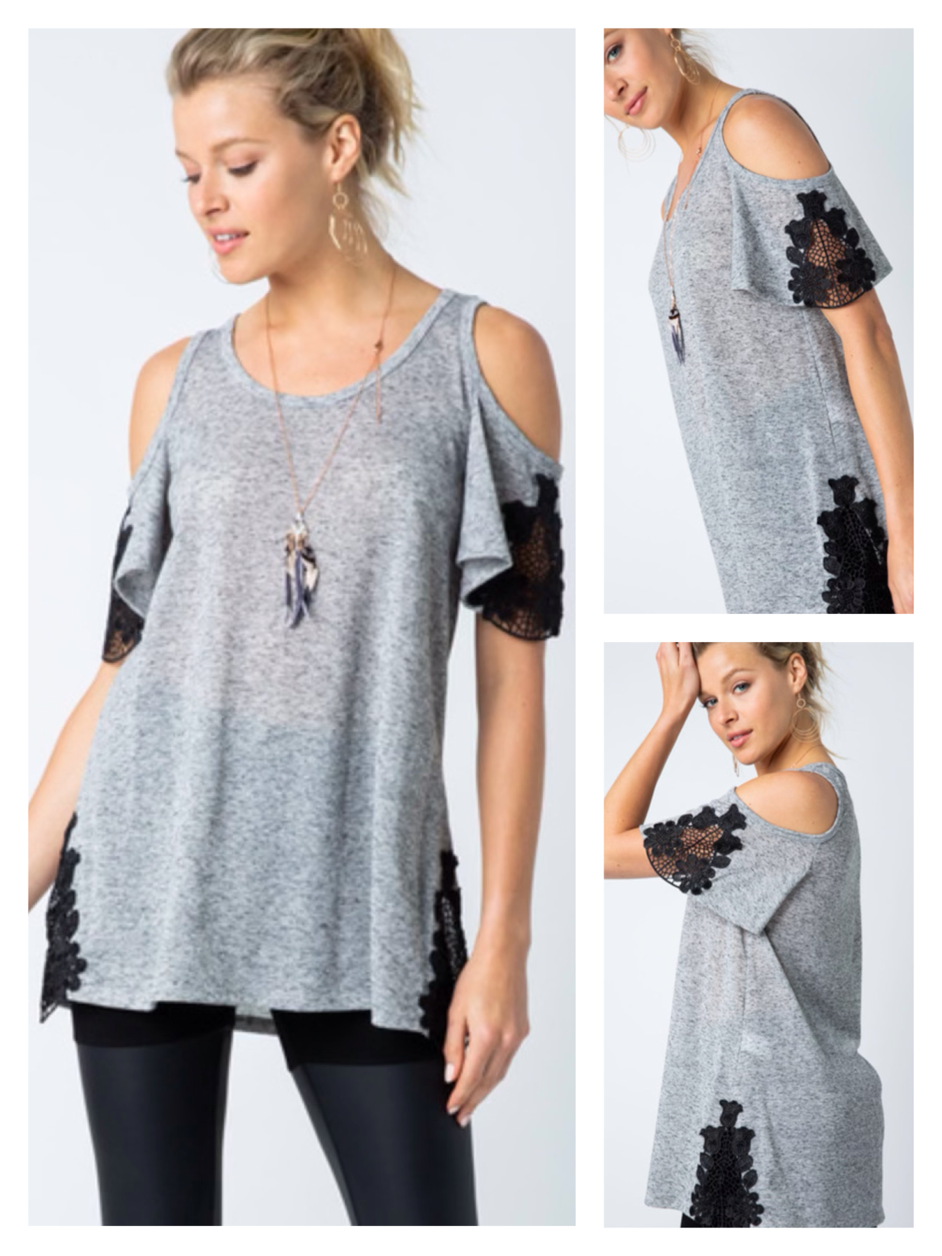 Cold Shoulder Tee with Lace Detail