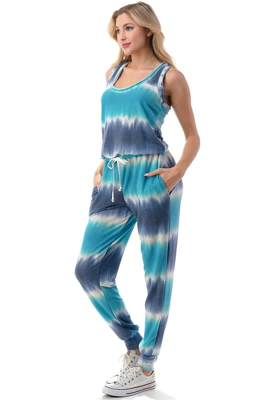 Sleeveless Tie Dye Jogger Jumpsuit