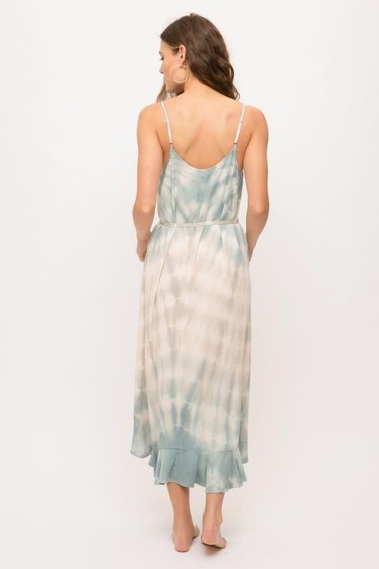 Ruffle Hem Tie Dye Maxi Dress