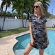 Camo Split Neck Tee Shirt Dress