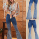Ombre Blocked Flare Jeans