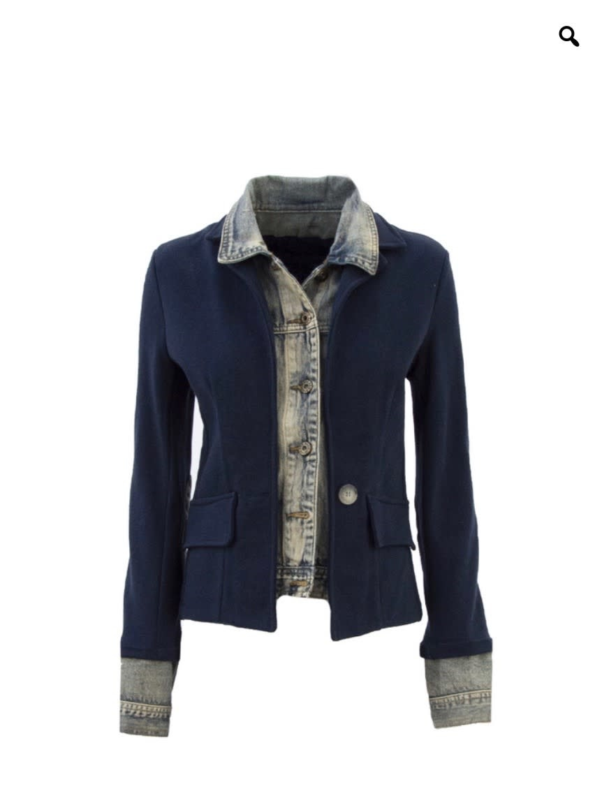 Denim Layered Blazer Jacket