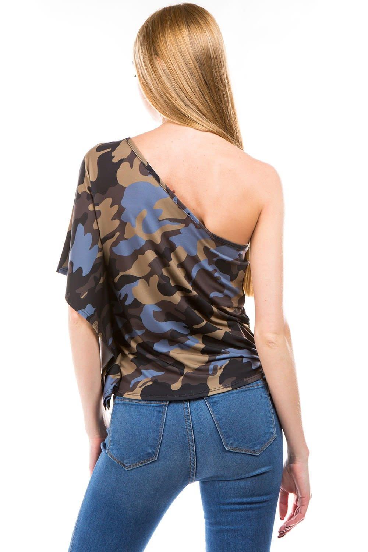 One Shoulder Ruffle Camo Print Top