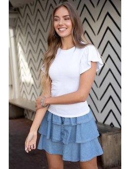 Denim Ruffle Mini Skirt