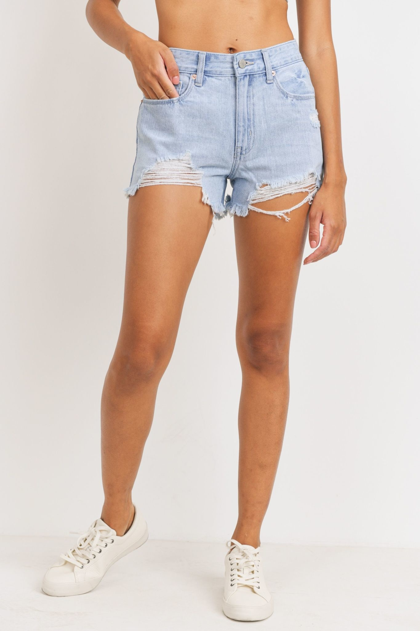 High Rise Destroyed Shorts
